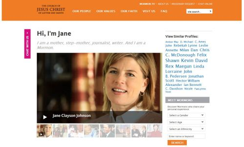 Jane Clayson Johnson's Mormon.org profile